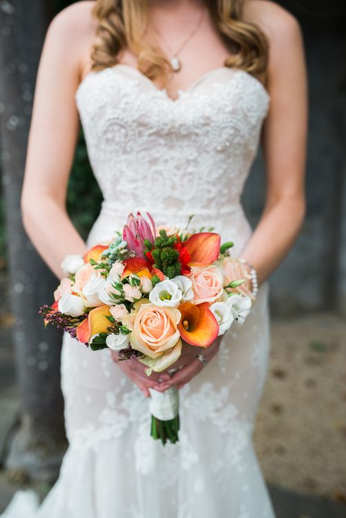 Lily & Rose Bouquet | Bride in Lace Sweetheart Neckline Dress | Kathy Silke Photography