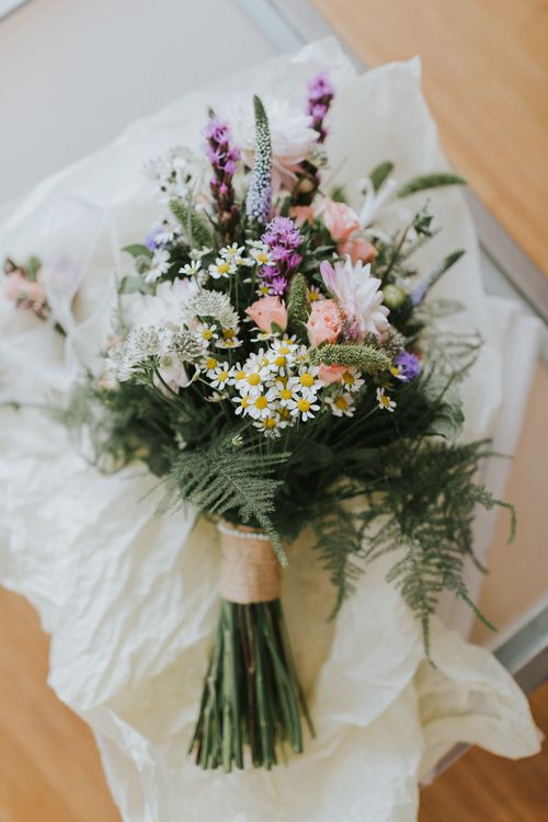 Bridal Posy With Daisies And Foliage