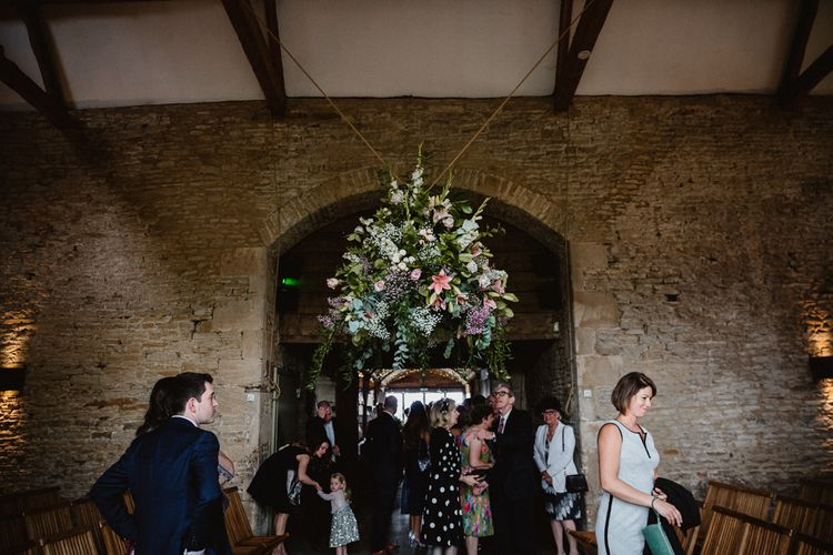Flower Installation | Lilac & Navy Rustic Wedding at Stone Barn, Cotswolds | Frankee Victoria Photography