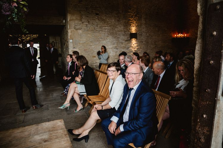 Wedding Ceremony | Wedding Guests | Lilac & Navy Rustic Wedding at Stone Barn, Cotswolds | Frankee Victoria Photography
