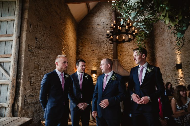Wedding Ceremony | Groomsmen in Navy Suits | Lilac & Navy Rustic Wedding at Stone Barn, Cotswolds | Frankee Victoria Photography
