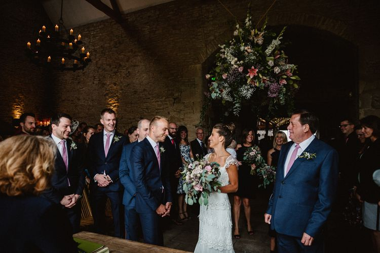 Wedding Ceremony | Bride in Claire Pettibone Bridal Gown | Groom in Navy Suit | Lilac & Navy Rustic Wedding at Stone Barn, Cotswolds | Frankee Victoria Photography