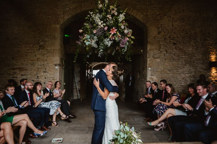 Wedding Ceremony | Bride in Claire Pettibone Wedding Dress | Groom in Navy Suit | Lilac & Navy Rustic Wedding at Stone Barn, Cotswolds | Frankee Victoria Photography