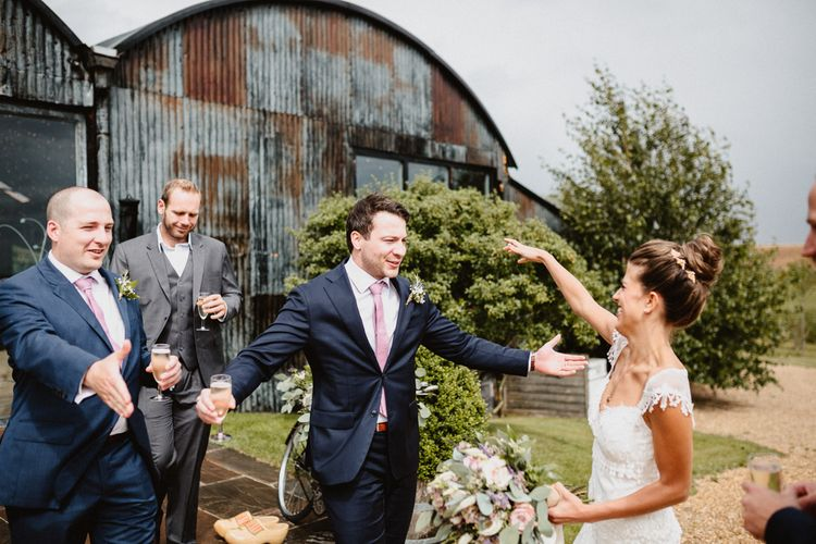 Wedding Guests | Bride in Lace Claire Pettibone Gown | Lilac & Navy Rustic Wedding at Stone Barn, Cotswolds | Frankee Victoria Photography