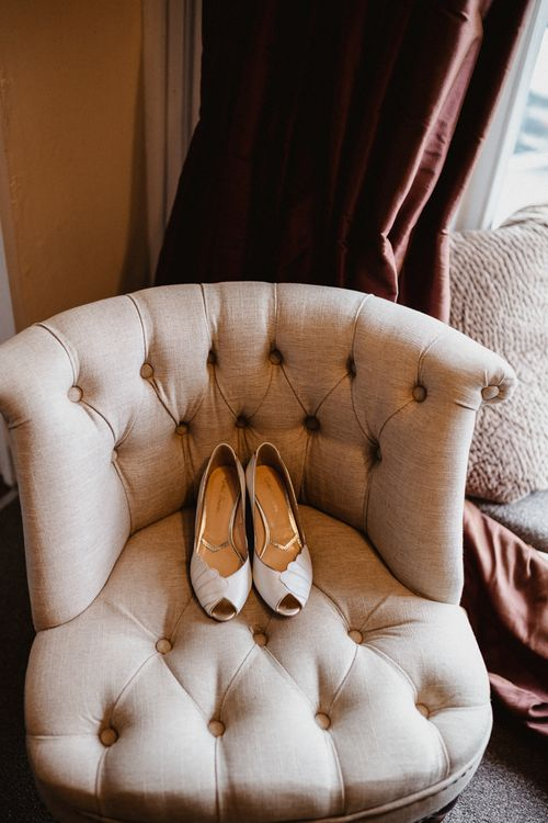 Bridal Shoes | Lilac & Navy Rustic Wedding at Stone Barn, Cotswolds | Frankee Victoria Photography