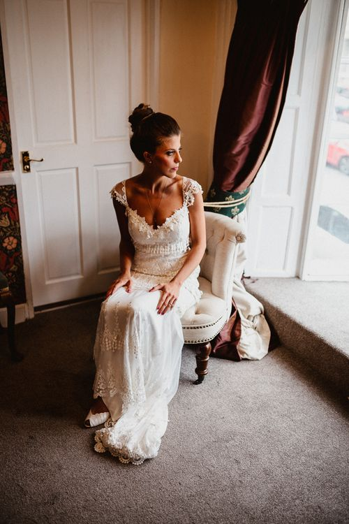 Bride in Claire Pettibone Wedding Dress | Lilac & Navy Rustic Wedding at Stone Barn, Cotswolds | Frankee Victoria Photography