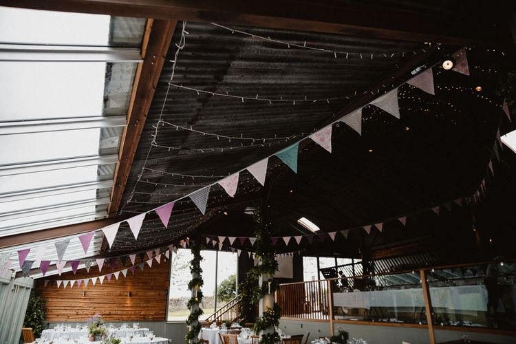 Fairy Lights & Bunting Wedding Decor | Lilac & Navy Rustic Wedding at Stone Barn, Cotswolds | Frankee Victoria Photography