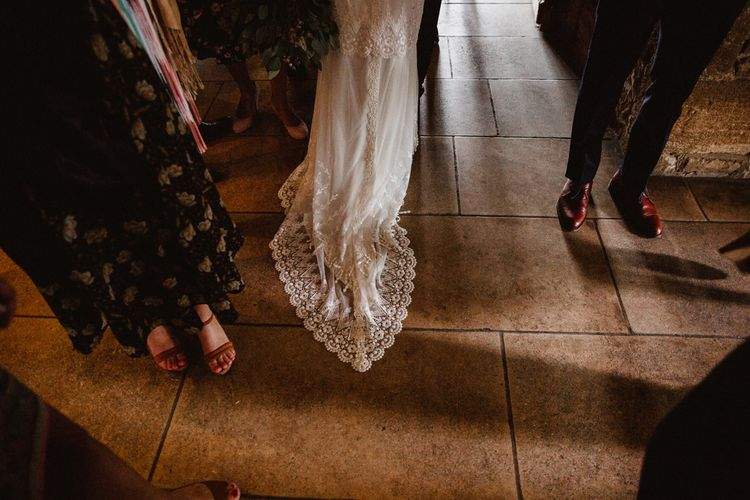 Claire Pettibone Lace Gown Train | Lilac & Navy Rustic Wedding at Stone Barn, Cotswolds | Frankee Victoria Photography