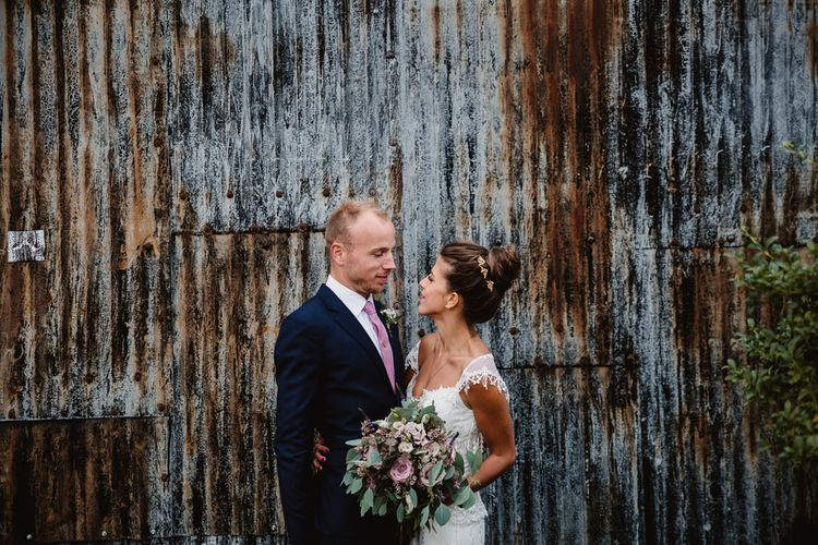 Bride in Claire Pettibone Bridal Gown | Groom in Navy Suit | Lilac & Navy Rustic Wedding at Stone Barn, Cotswolds | Frankee Victoria Photography