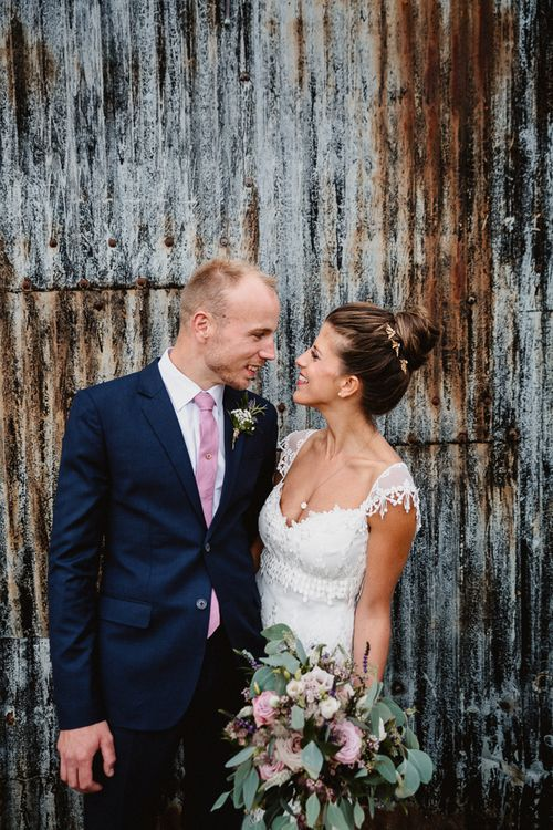 Bride in Claire Pettibone Wedding Dress | Groom in Navy Suit | Lilac & Navy Rustic Wedding at Stone Barn, Cotswolds | Frankee Victoria Photography