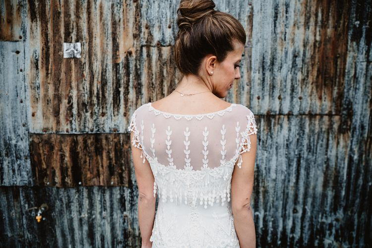 Bride in Lace Back Claire Pettibone Bridal Gown | Lilac & Navy Rustic Wedding at Stone Barn, Cotswolds | Frankee Victoria Photography