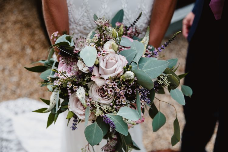Purple Rose & Green Bridal Bouquet| Lilac & Navy Rustic Wedding at Stone Barn, Cotswolds | Frankee Victoria Photography