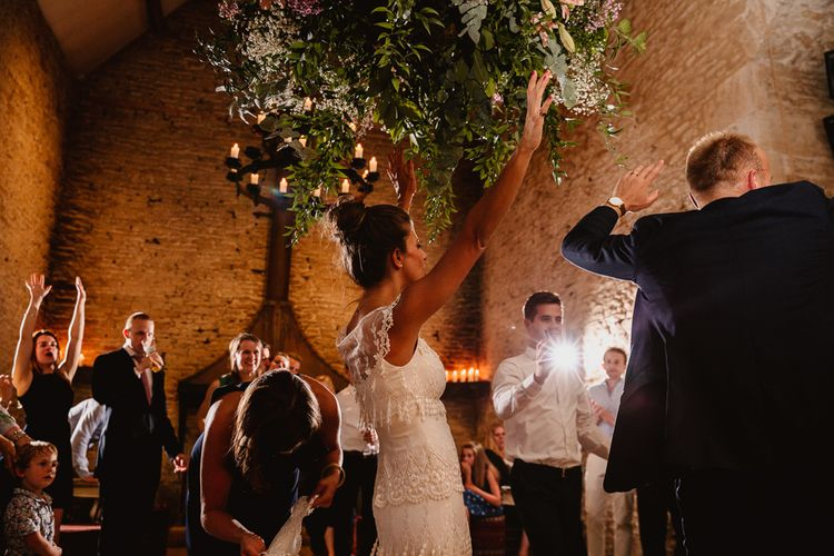 First Dance | Bride in Claire Pettibone Wedding Dress | Groom in Navy Suit | Lilac & Navy Rustic Wedding at Stone Barn, Cotswolds | Frankee Victoria Photography