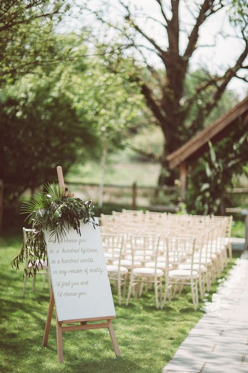 Wedding Sign | Botanical Outdoor Wedding at Millbridge Court | Lemonade Pictures