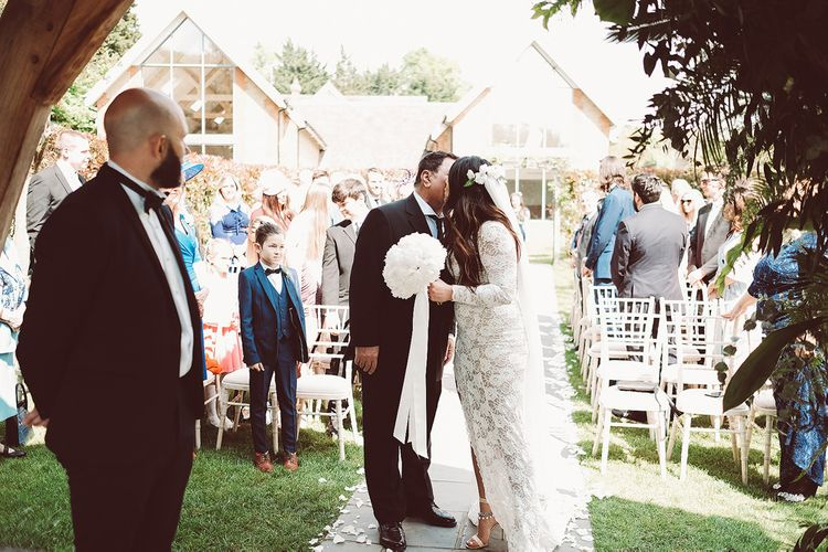 Outdoor Wedding at Millbridge Court | Bride in Grace Loves Lace Wedding Dress | Groom in Tuxedo | Lemonade Pictures