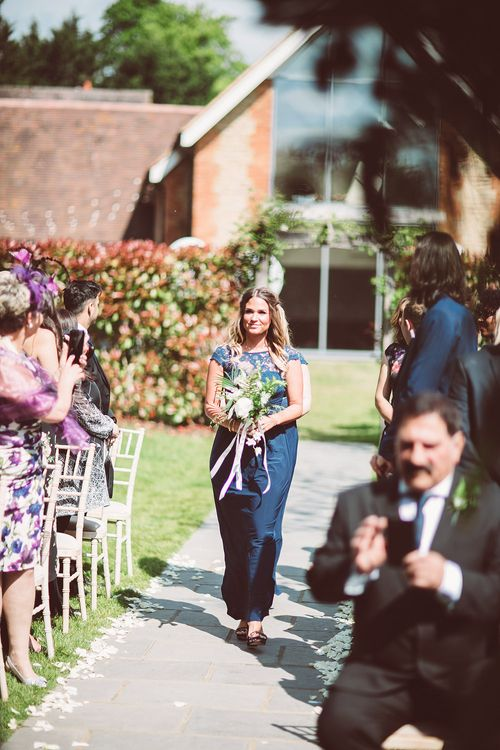 Bridesmaid in Navy ASOS Dress | Botanical Outdoor Wedding at Millbridge Court | Lemonade Pictures