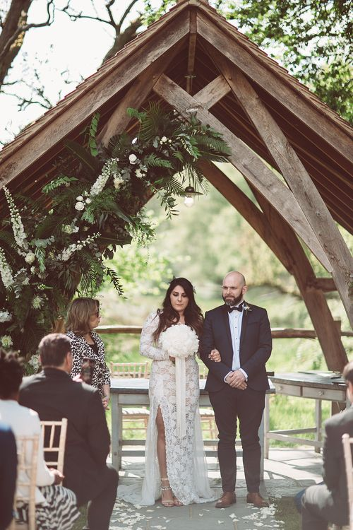 Bride in Grace Loves Lace Wedding Dress | Groom in Tuxedo | Lemonade Pictures