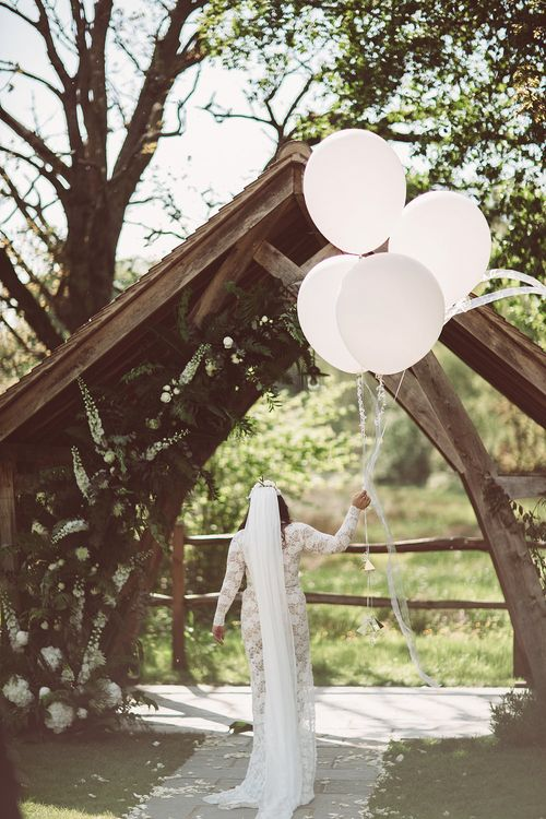Bride in Grace Loves Lace Wedding Dress | Giant Balloons | Lemonade Pictures