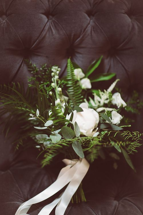 Foliage & White Flower Bouquet | | Botanical Outdoor Wedding at Millbridge Court | Lemonade Pictures