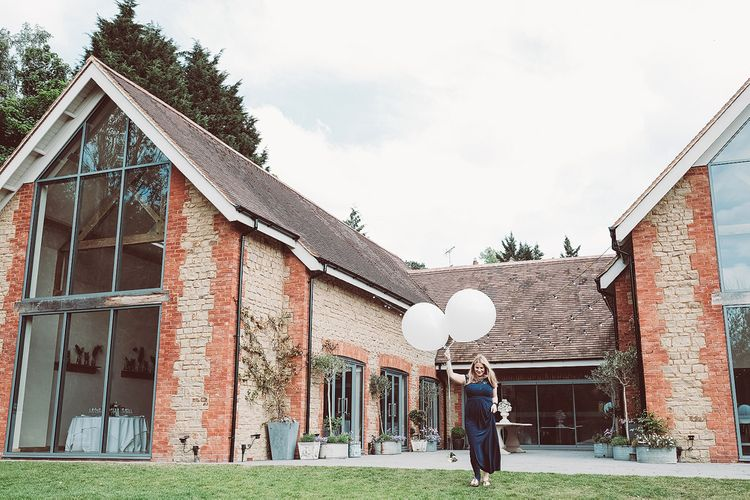 Bridesmaid in Navy ASOS Dress | Giant Balloon | Botanical Outdoor Wedding at Millbridge Court | Lemonade Pictures