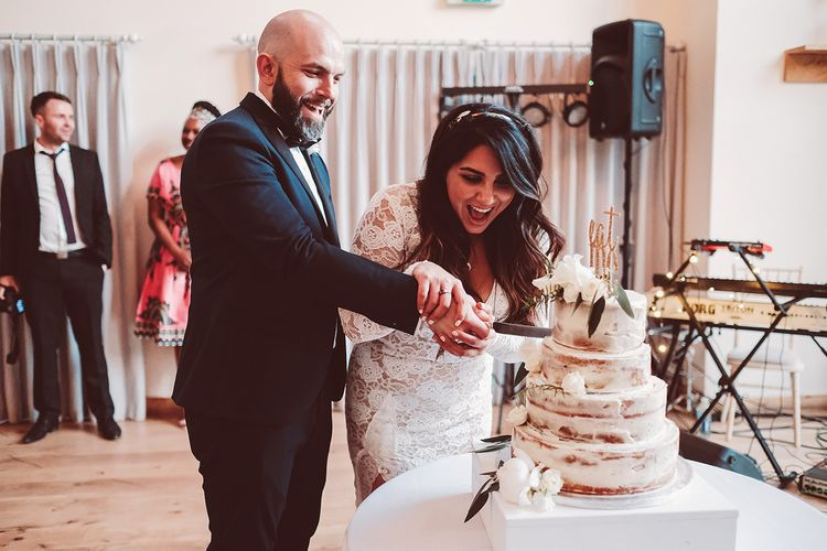 Bride & Groom Cut The Cake | Semi Naked Wedding Cake | Lemonade Pictures