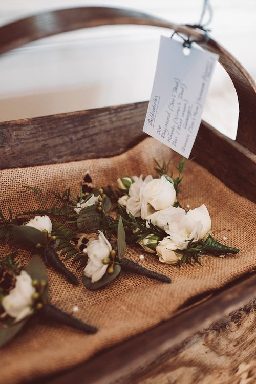 White Buttonholes | | Botanical Outdoor Wedding at Millbridge Court | Lemonade Pictures