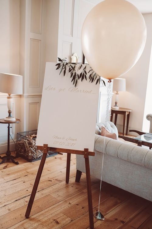 Wedding Sign with Greenery Garland & Giant Balloon Decor | Botanical Outdoor Wedding at Millbridge Court | Lemonade Pictures