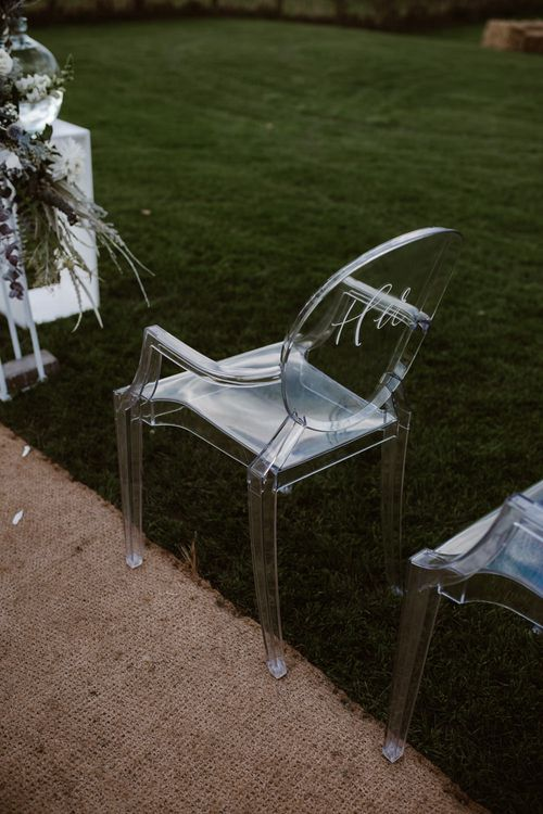 Ghost Chair Aisle Seats | Nocturn Wedding Inspiration Planned & Styled by The Little Lending Company | Florals by Swaffham Florist | Agnes Black Photography | Film by The Wilde Bride