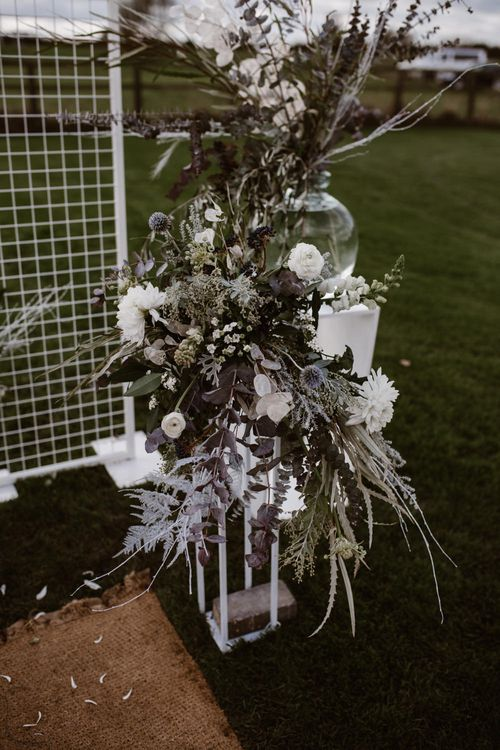 White & Grey Floral Arrangement by Swaffham Florist | Nocturn Wedding Inspiration Planned & Styled by The Little Lending Company | Florals by Swaffham Florist | Agnes Black Photography | Film by The Wilde Bride