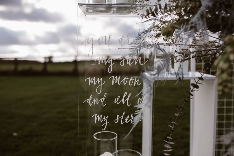 Etched Perspex Altar Plinths | Nocturn Wedding Inspiration Planned & Styled by The Little Lending Company | Florals by Swaffham Florist | Agnes Black Photography | Film by The Wilde Bride