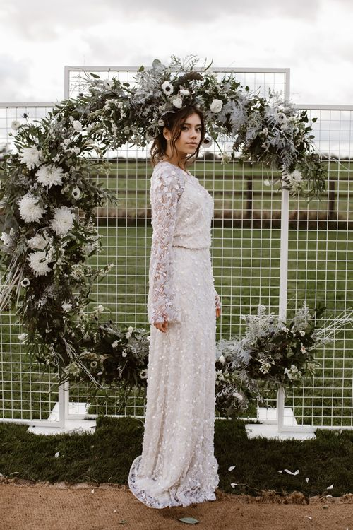 Bride in Jenny Packham Gown | Moon Gate Floral Arch by Swaffham Florist | Nocturn Wedding Inspiration Planned & Styled by The Little Lending Company | Agnes Black Photography | Film by The Wilde Bride