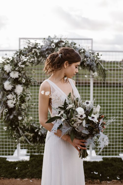 Bride in Watters Wtoo Bridal Gown | Moon Gate Floral Arch by Swaffham Florist | Nocturn Wedding Inspiration Planned & Styled by The Little Lending Company | Agnes Black Photography | Film by The Wilde Bride