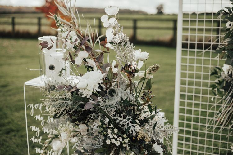 White & Grey Altar Floral Arrangement | Nocturn Wedding Inspiration Planned & Styled by The Little Lending Company | Florals by Swaffham Florist | Photography & Film by The Wilde Bride