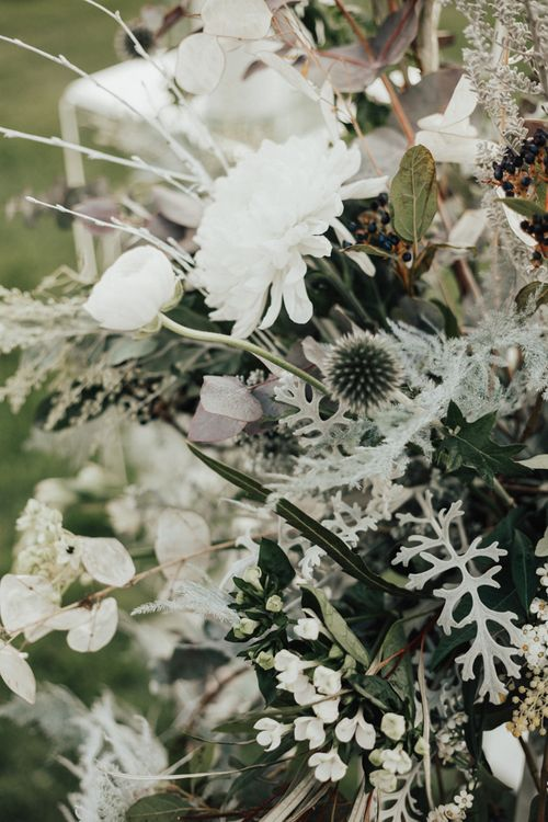 White & Grey Wedding Flowers | Nocturn Wedding Inspiration Planned & Styled by The Little Lending Company | Florals by Swaffham Florist | Photography & Film by The Wilde Bride