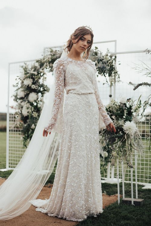 Bride in Jenny Packham Gown & Tilly Thomas Lux Hair Piece | Nocturn Wedding Inspiration Planned & Styled by The Little Lending Company | Florals by Swaffham Florist | Photography & Film by The Wilde Bride