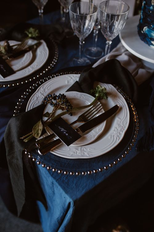 Elegant Place Setting | Nocturn Wedding Inspiration at Godwick Great Barn Planned & Styled by The Little Lending Company | Agnes Black Photography | Film by The Wilde Bride