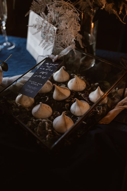 Dust with Cocoa Macaroons | Nocturn Wedding Inspiration at Godwick Great Barn Planned & Styled by The Little Lending Company | Agnes Black Photography | Film by The Wilde Bride