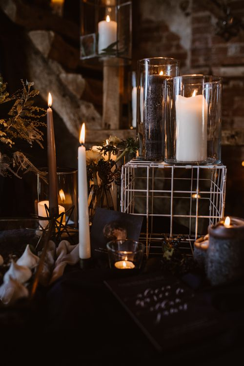 Candle Light Wedding Decor | Nocturn Wedding Inspiration at Godwick Great Barn Planned & Styled by The Little Lending Company | Agnes Black Photography | Film by The Wilde Bride