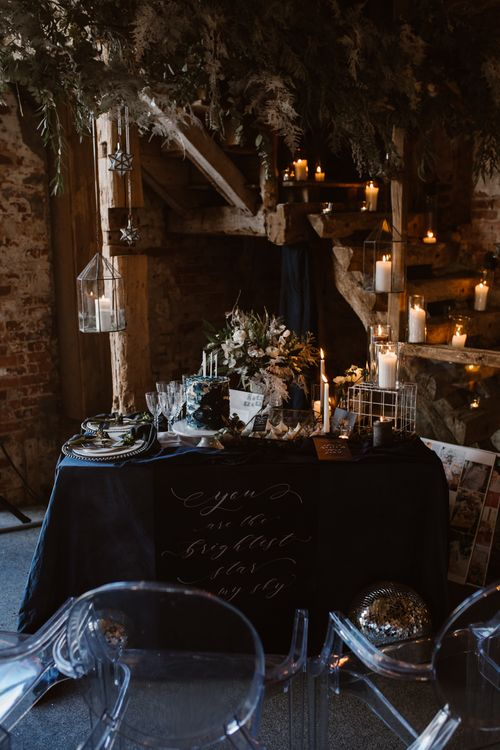 Elegant Tablescape | Nocturn Wedding Inspiration at Godwick Great Barn Planned & Styled by The Little Lending Company | Agnes Black Photography | Film by The Wilde Bride