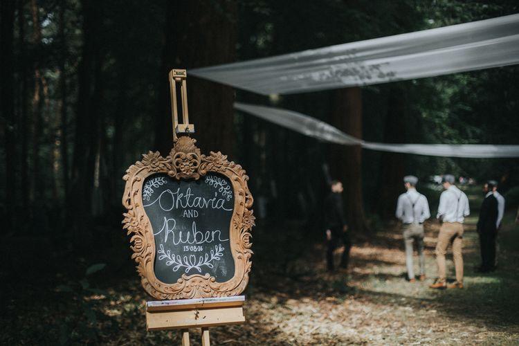 Ornate Frame Chalkboard Wedding Sign