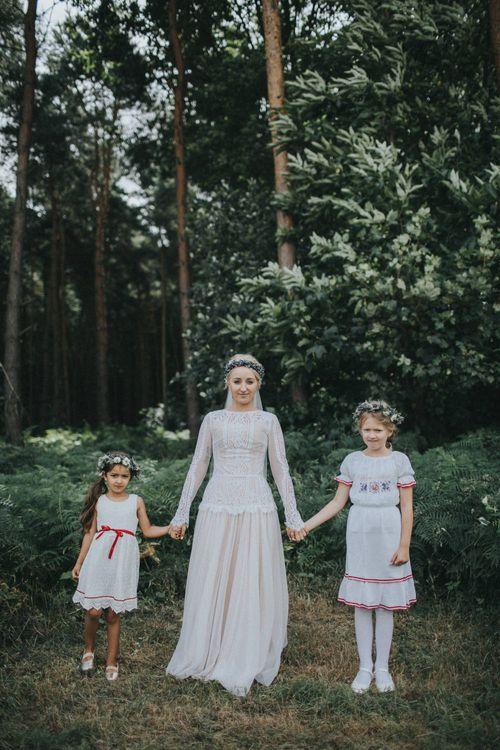 Bride in Katya Katya Shehurina Wedding Dress & Flower Crown with Flower Girls