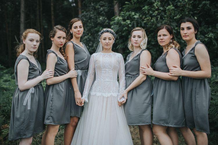 Bridesmaids in Bespoke Dresses