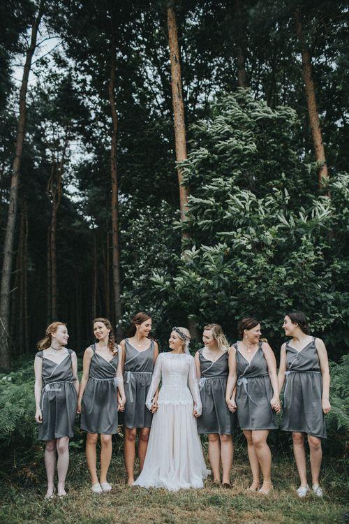 Bride in Katya Katya Shehurina Wedding Dress & Bridesmaids in Bespoke Dresses