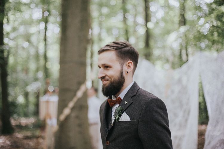 Outdoor Woodland Wedding Ceremony Groom at the Altar