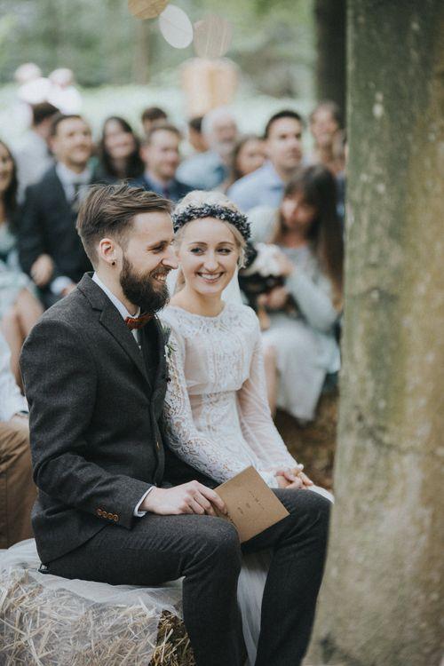 Outdoor Woodland Wedding Ceremony with Bride in Katya Katya Shehurina Wedding Dress & Flower Crown