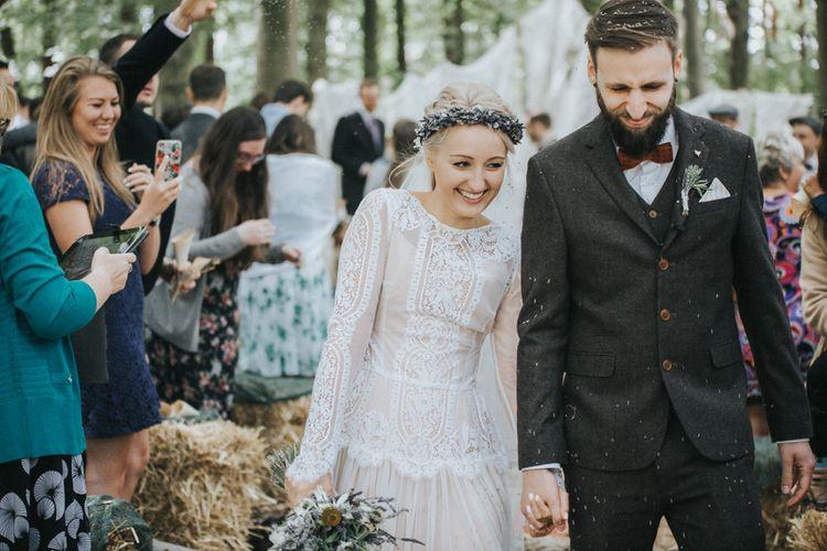 Outdoor Woodland Wedding Ceremony Confetti Exit with Bride in Katya Katya Shehurina Wedding Dress & Flower Crown
