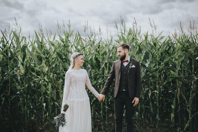 Bride in Katya Katya Shehurina Wedding Dress & Flower Crown