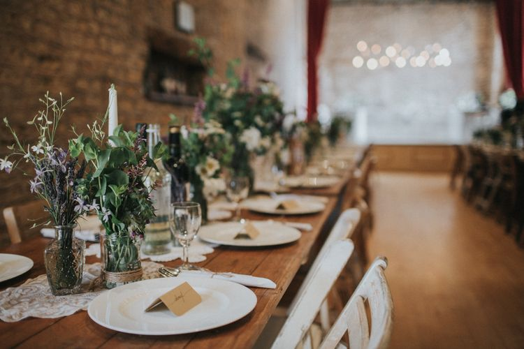 Rustic Wedding Table Centrepieces with Jars filled with Flower Stems