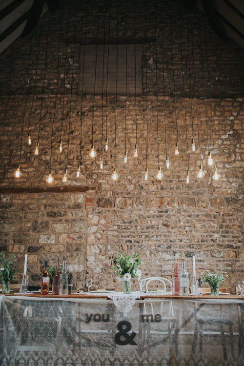Top Table Wedding Decor & Industrial Lighting