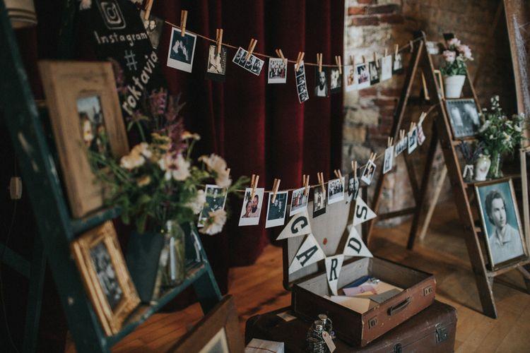 Vintage Step Ladders, Family Portraits, Vintage Suitcase Card Box Wedding Decor